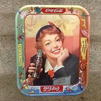 Coke 1953 Menu Server Tin Lithograph Advertising Tray Used Condition