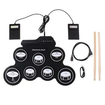 Portable Roll-up Electronic Drum for Kids Beginners Foot Pedals w/ 2 Sticks