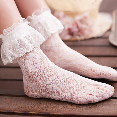 Lolita Girls Lace Socks Women White Lace Short Sock Anklets Socks With Ruffle