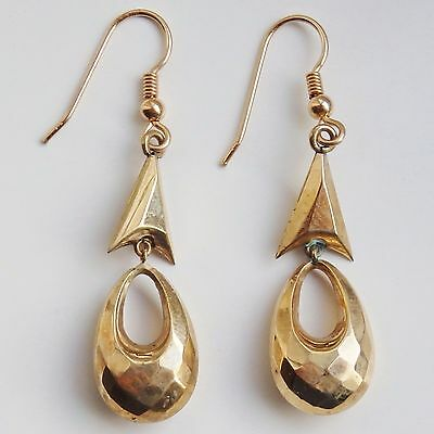 Fine Antique Victorian Pair of 9ct Gold Long Drop Earrings on French Wires c1890