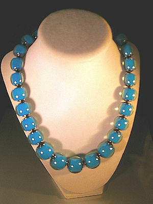 """Fun & Fabulous """"18"""" Blue/hematite Beaded Necklace"""" By Adina-Very Colorful-Look!"""