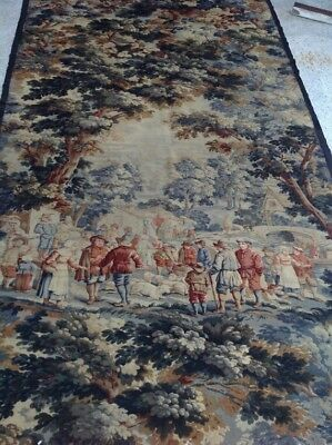 """ANTIQUE 19c FRENCH HAND PAINTED SCENE HANGING TAPESTRY Verdue RARE Large 93""""×53"""""""