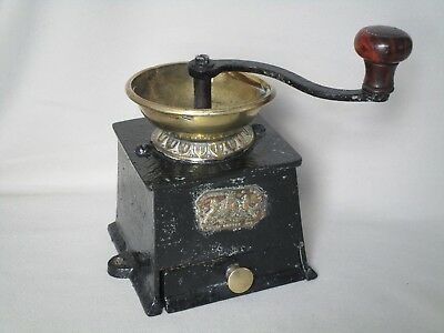 Antique Kenrick & Sons Brass and Cast Iron Coffee Mill or Grinder