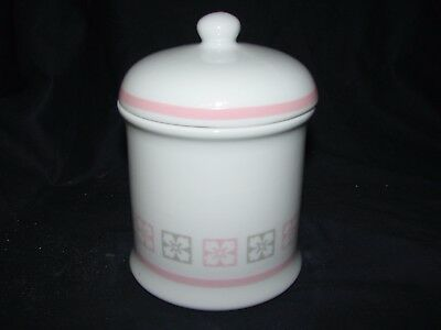 "White Ceramic Canister Jar w/Pink & Grey Accents 5 1/4"" Tall"