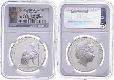 48373) 2 Pounds, 2013, Britannia, NGC PF70 Ultra Cameo, Early Releases