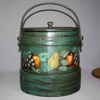 """Antique Primitive OLD HAND PAINTED SIGNED OLD GREEN 10"""" WOODEN FIRKIN Wood AAFA"""