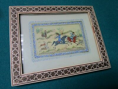 Early 20C Handpainted Persian Plaque in Khatam Mosaic Frame
