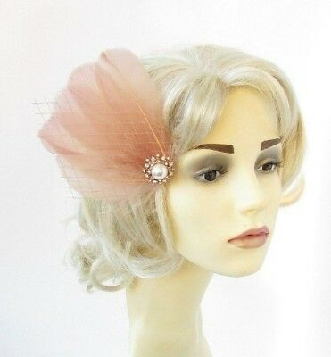 Nude Net Feather Fascinator Hair Clip Races Headpiece Cocktail Vtg 1920s 4848
