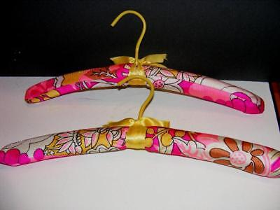 2 Retro 1960s Hippi GROOVY mOd CLOTHES HANGERS FLOWER POWER Padded Fabric GoGo