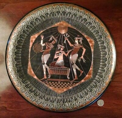 Egyptian Pharaoh Cabinet Plate Niello Copper Brass Silver Etched Musicians Dance