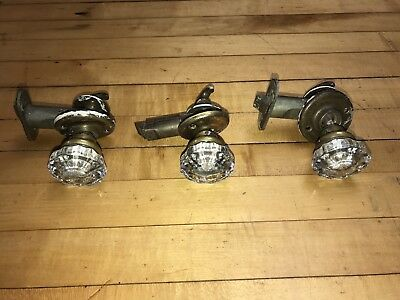 Lot Of 3 Brass Glass Pantry Door Knobs & Lock Hardware Victorian Turn Of Century