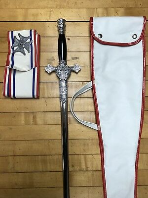 Vintage Knights Of Columbus Ceremonial Sword With Case & Sash Templar Fraternal