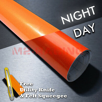 "*12""x48"" Reflective Orange Vinyl Wrap Sticker Decal Graphic Sign Adhesive Film"