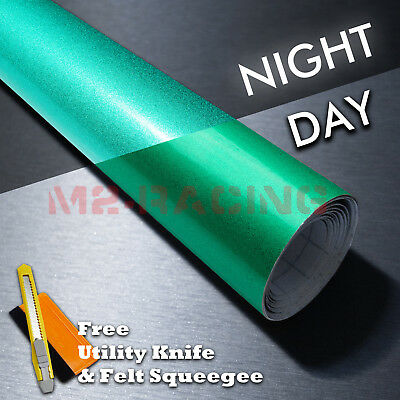 "*48""x120"" Reflective Green Vinyl Wrap Sticker Decal Graphic Sign Adhesive Film"