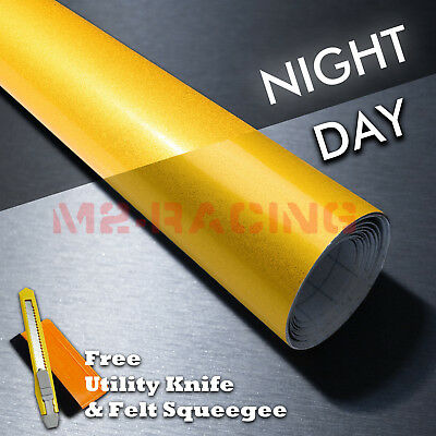 """*48""""x84"""" Reflective Yellow Vinyl Wrap Sticker Decal Graphic Sign Adhesive Film"""