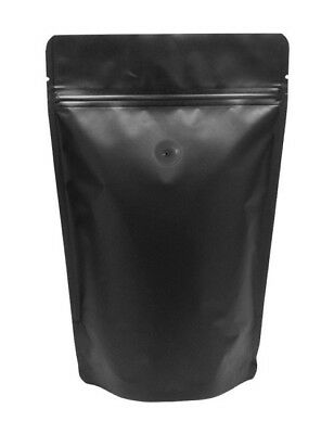 BAP 100 16 oz Matte Black Stand Up Pouch Coffee Bags, Zip, Valve for Coffee