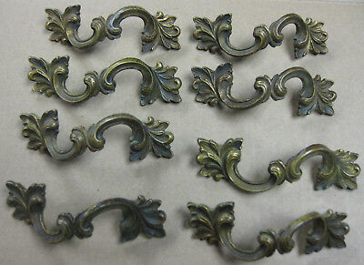 LOT OF 8 OLD BRASS PULLS cabinet antique PULLS CURVED french drawer door