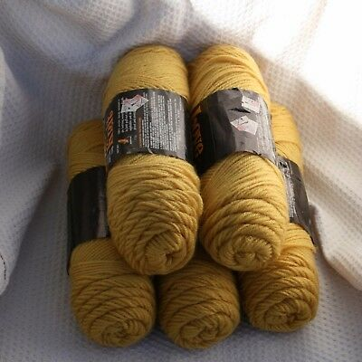 Lot of 5 Skeins of NOS Love Knit Yarn, #1106 Antique Gold 100% Acrylic 4oz 113g
