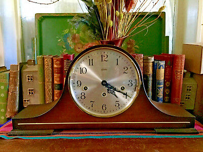 "Vintage Linden German Triple Chime Mantle 8 Day Wind Up Clock 19""x 9.5""x5"""