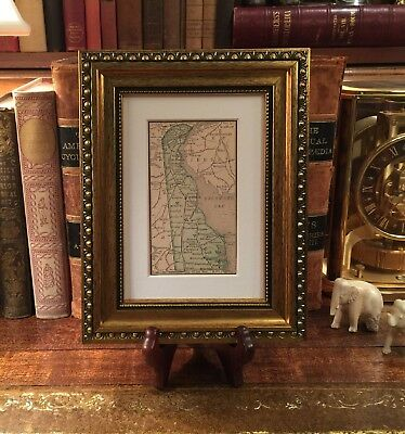 Framed Original 1889 Antique Map DELAWARE Middletown Seaford Milford Lewes Dover