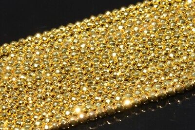 """3MM 18k Gold Hematite Grade AAA Faceted Round Gemstone Loose Beads 15.5"""""""
