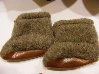 Vintage 1950s TINY TERRI LEE Doll size Brown Fur boots BOOTS Booties