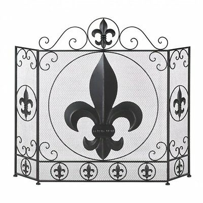 Fleur-De-Lis Fireplace Screen Chic Design Tri Fold Style Home Accent New