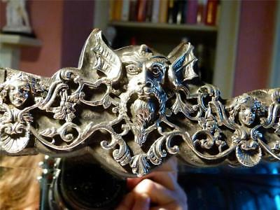 1886 Silver Bat Wing Human Mythical Head Coronet Crown Mounted Peerage Mirror