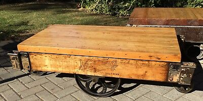 Antique Nutting Industrial Railroad Cart Coffee table