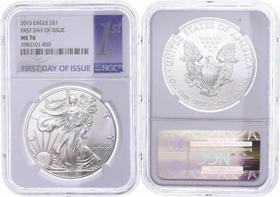 48801) Dollar, 2015, Silver Eagle, NGC MS70, First Day of Issue Label