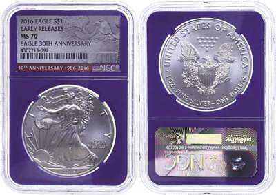 48855) Dollar, 2016, Silver Eagle, NGC MS70, Early Releases, blue Core