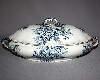 Sale! Antique B&K BARKERS Staffordshire COVERED VEGETABLE BOWL 1878 Blue White