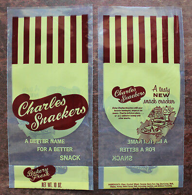 """10 Charles Chips """"Charles Snackers"""" Snack Crackers New Old Stock Vinyl Bags"""
