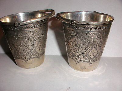2 Vintage pair of decorated buckets w/ swing handles Persian silver Middle East