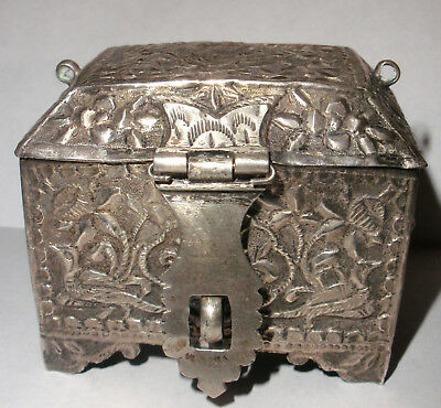Antique 19th decorated birds flowers Persian silver trunk hinged box Middle East