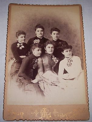 antique late 1800's cabinet photograph of 6 young women Saginaw Michigan fashion