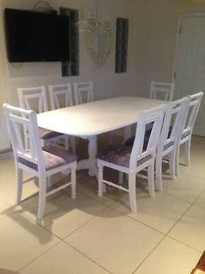 Beautiful Solid Wood Table & 8 Chairs shabby chic Dining Table and Chairs