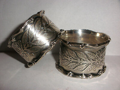 Pair Of Great Antique Tiffany Co Sterling Silver Aesthetic Napkin Rings