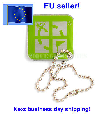 Green square Geocaching logo Travel Bug trackable Travelbug Dog Tag Unactivated