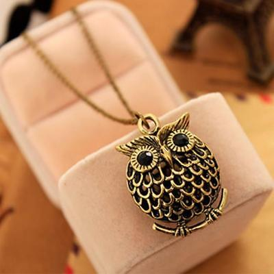 NEW 2018 Fashion Long Chain Vintage Gold/Bronze Owl Collier Necklace for Women
