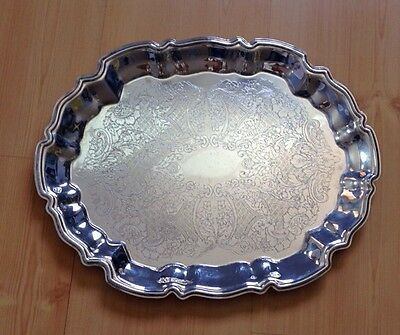 """Vintage Leonard Silverplated 14"""" Oval Decorated Serving Tray Made in Italy"""