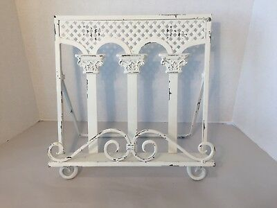 Vintage White Wrought Iron Metal Cookbook Holder/Stand Photo Display Shabby Chic