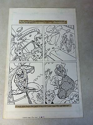 SPIDER-MAN original artwork BATTLES DOCTOR OCTOPUS, SAVES FAMILY, 1983