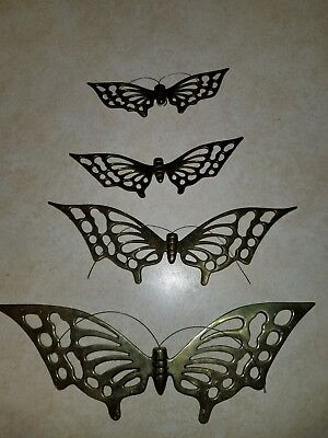 Vtg Set Lot of 4 Butterfly Wall Decor Hangings Cast Solid Brass Very Nice Decor