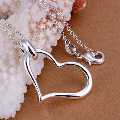 Fashion 925Sterling Solid Silver Jewelry Heart Chain Pendant Necklace P080