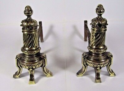 French Fireplace Andirons: Antique Empire Style Solid Brass Bronze Pair Firedogs