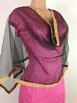 $5.99 Party Wear Black Net Dupatta Indian  Wedding   Party Scarf  Match any suit