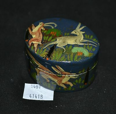 ThriftCHI ~ Hand Painted Russian Lacquered Box w Animals Design