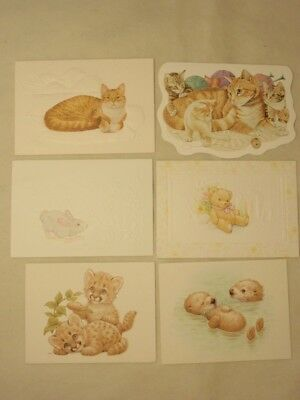 Current Blank Note Cards Lot of 6: Morehead Endangered, Kitty Cat, Bear Bunny