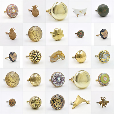 Golden & Gold Coloured Cupboard Knobs Handles Pulls For Furniture Drawers Big UK